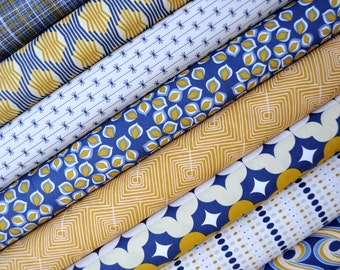 SALE - Athena Fabric Bundle - Art Gallery by Angela Walters. Indigo Blue & Gold Mediterranean. 100% cotton. Select your length