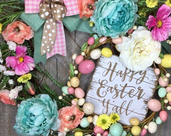 Easter wreath for front door, Easter spring wreath, spring wreath, spring wreath for front door, easter wreath decor, easter spring decor