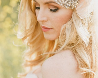 The Lillian Bridal Cap and Blusher Veil created with Soft English Netting, Rhinestones, Pearls and Chiffon