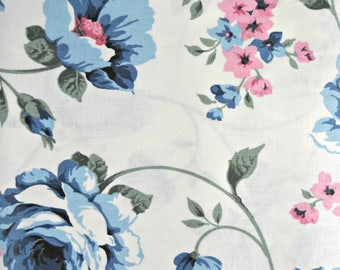 Blue Roses Fabric, 100 Percent Cotton, Fabric by the Yard