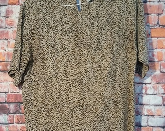 80's S.L.B  Silk Top Blouse, Silk Top Blouse Size M,Silk Blouse short Sleeves