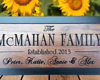 Personalized Wedding Gift For couple Custom Wedding Sign Gift for Bridal Shower Custom family Name sign carved wood sign