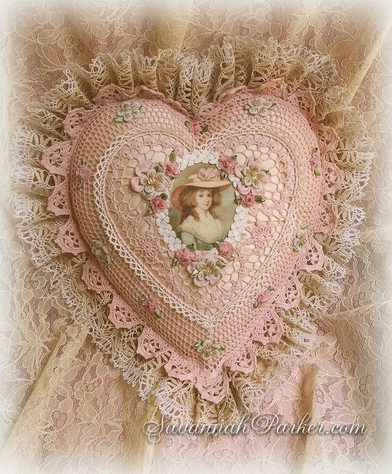 Antique Style Exquisite Romantic Cottage Shabby Chic Pillow - Sweet Blush Pink Crocheted Heart Shape - Antique Laces - Ribbonwork Flowers
