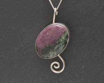 Ruby With Zoisite Sterling Silver Pendant with chain