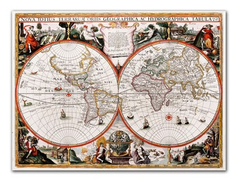 """13x17"""" Antique World Map printed on parchment paper, Nova Totius Terrarum Orbis Geographica Ac Hydrographica Tabula, 1625 , Vintage map"""