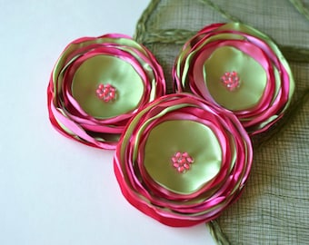 Handmade flower appliques, embellishments, floral appliques, large flowers, pink fabric flowers, satin appliques (3pcs)- PINK and LIME GREEN