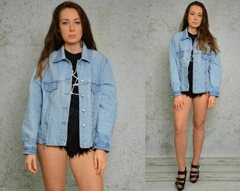 Oversized Denim jacket Zipper vintage grunge Blue hipster jeans zippered Rocker jeans