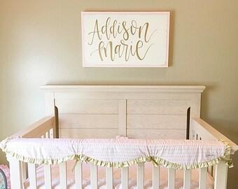 LARGE Custom Nursery Name Sign | Baby Girl Nursery Sign | Large Framed Sign | Nursery Wall Decor | Gold and Pink | Girl Bedroom | Wall Decor