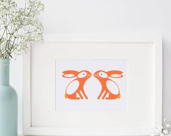 Bunny Rabbit A4 Art Print Woodland Nature Wall Art