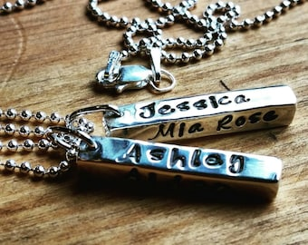 One Sterling Silver Bar Necklace, Personalized Engraved Name Pendant, Mother's Necklace, Children's Name Necklace, Rustic, Minimalist