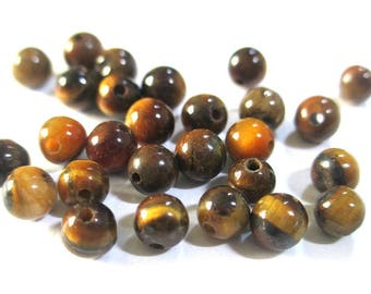 10 pearls 4mm Tiger eye, natural (G-02)