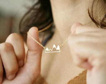 mountain necklace mountain jewelry gold mountain range mountain necklace mountain range gift for her gift under 50 nature lover