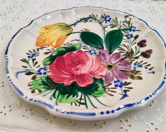 Vintage Plate - Italy - Colorful Flowers - Floral Dish - Catchall - Italian Painting- Wall Decor - Tray Dish