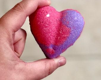 Heart Bath Bomb, Bath Bomb, Bath Fizzie, Heart, Purple, Pink, Love Spell, Bath Art