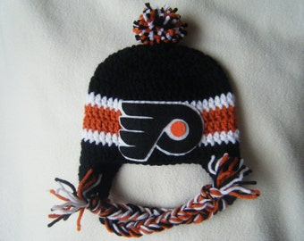 Crocheted Flyers Inspired In Team Colors or (Choose your team) Baby Beanie/Hat - Made to Order - Handmade by Me