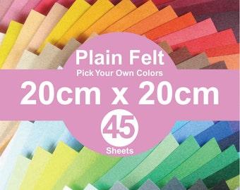 45 Plain Felt Sheets - 20cm x 20cm per sheet - Pick your own colors (A20x20)