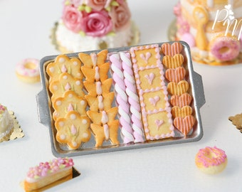 MTO -Pink-Themed Butter Cookies and Marshmallow Twists (Guimauve) on Metal Baking Tray - 12th Scale Miniature Food (Pink Collection 2016)
