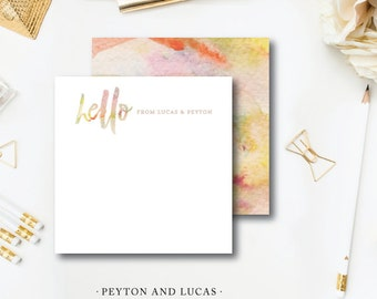 Peyton and Lucas Printed Stationery | Watercolor Stationery | Printed Darby Cards Collective
