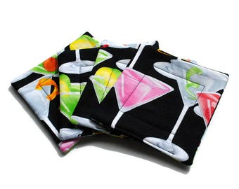 Handmade Quilted  Coasters set of 4 Martini Glasses Black Pink Green
