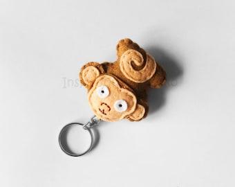 Felt monkey keychain plush, cute ape mini plush, funny accessory for animal lovers, kids gift idea, hanging bags decoration, monkey keyring