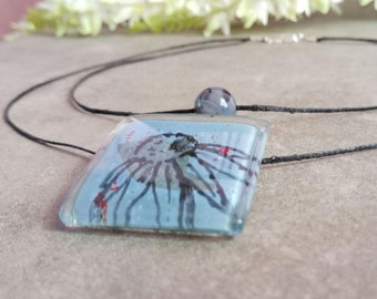 Recycled glass jewelry, Blue flower pendant, Layered necklace, Eco friendly gifts, Hand painted glass pendant, Gift ideas for women