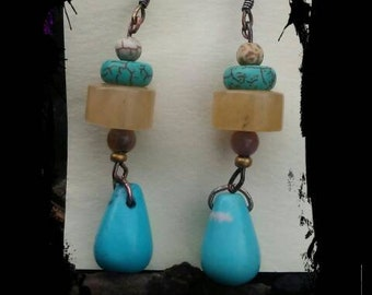 Turquoise and Agate earrings