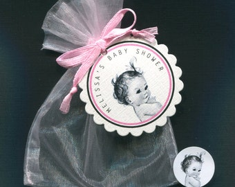 Personalized Baby Girl Baby Shower Favor Candy Bags, Baby Girl Vintage, Includes Tags, Candy Stickers, Pink Organza Bags, Set Of 70