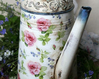 galvanized watering can Watering can decoupage Forger me not and Rose Metal watering can in vintage style Shabby chic Flower vase