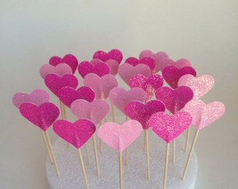 24 Mixed Pink Glitter Heart Cupcake Toppers - Food Picks - Party Picks