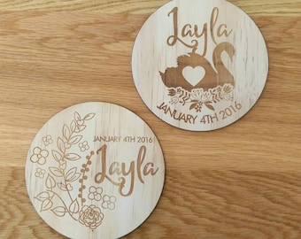 Birth announcement photo props. Wood etched photo props. Baby Girl
