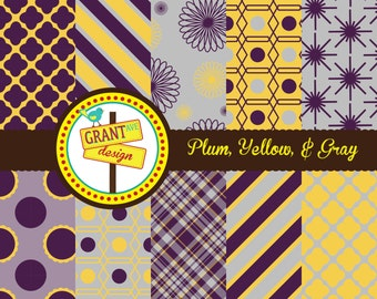 Plum, Yellow, & Gray Digital Papers - Backgrounds for Invitations, Card Design, Scrapbooking, and Web Design