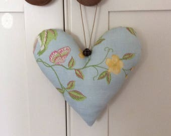 Small Handmade Shabby Chic Hanging Fabric Heart Decoration ~ Laura Ashley Summer Palace Duck Egg Cotton/Linen Fabric