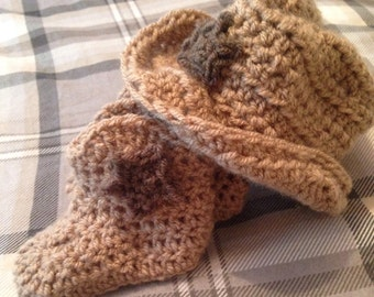 Crochet Cowboy hat and booties