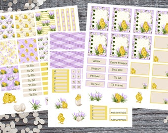 Yellow Chick and Purple Flower 3 Page Sticker Set-Compatible With Most Planner Including Erin Condren™Planners-Large Name Planner Compatible