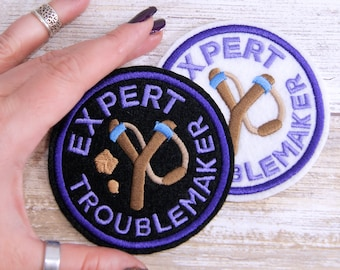 Expert Troublemaker Round Merit Badge Iron On Embroidery Patch MTCoffinz - Choose Size/ Color