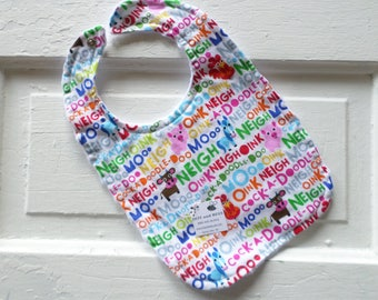 Adorable Farm Animals and Their  Sounds Baby Bib!   FREE SHIPPING!!