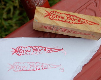 Grow Your Own carrot mounted stamp