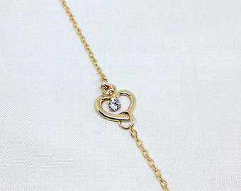 Gold Heart bracelet, Delicate thin chain bracelet, Dainty layering bracelet, Open Heart bracelet, 14k Gold filled bracelet, minimal bracelet
