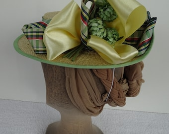1890's Reproduction Victorian Straw Boater Hat with Green Plaid Ribbon
