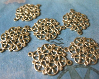 6 PC Raw Brass Victorian Filigree Link Finding - BB07