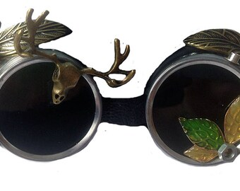 steampunk goggles  gears girly wood edition
