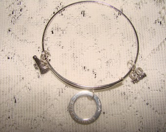 Cheerleader Silver Tone Expandable Charm Bracelet
