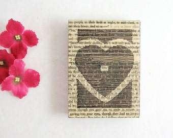 love heart - Line Drawing on Book Paper Collage - 3x4 Original Art Heart Wall Decor - Black and White Mixed Media Art - Paper Anniversary