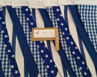 Fabric bunting flags royal blue print