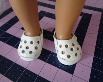 """White Sparkle Clogs  for 18"""" Dolls- Sandals-Shown on my american girl doll"""