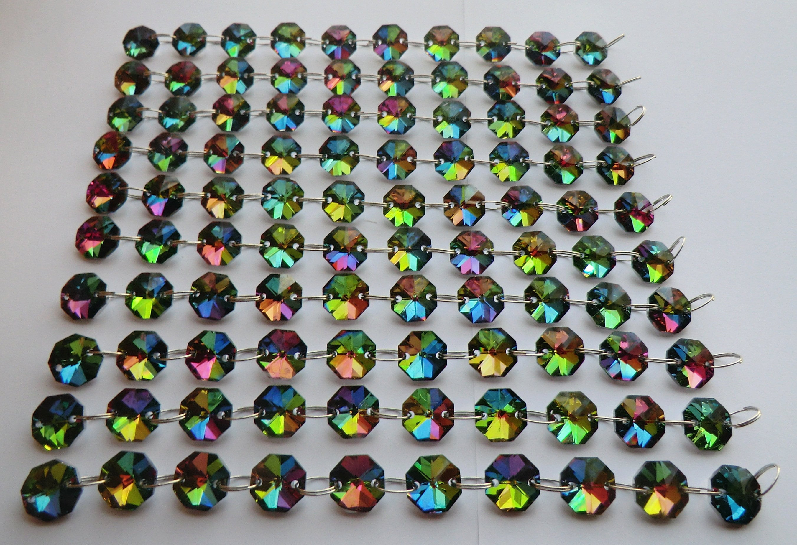 Image of 14mm Octagon Vitrail AB Chandelier Prisms Drops Glass Crystals Light Parts Droplets Beads Christmas Tree Wedding Decorations Garland Makers