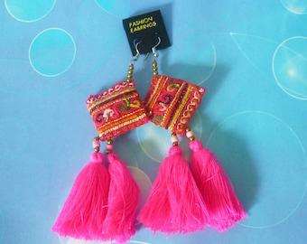 Pink earrings square -tassel beaded earrings -Hill tribe earrings -ear wire earrings -boho earrings