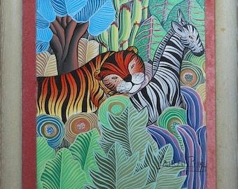 vintage jungle animals oil painting signed laureus pierre
