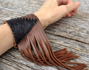 Leather Cuff Handmade with Leopard Cowhide - Anteater & Ostrich in Soft Distressed Brown Leather and Fringe by Stacy Leigh