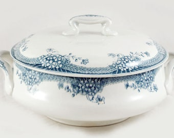 Vintage antique French ironstone tureen blue transferware